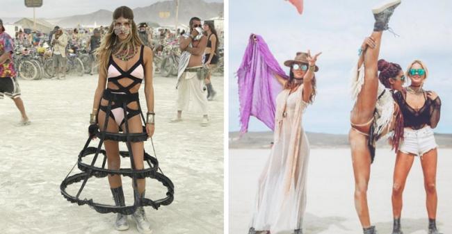 Самые красивые девушки на фестивале света и огня Burning Man 2018